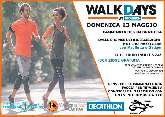 WALKDAYS: 13 Maggio un evento Walking Center e Decathlon con la Camminata Sportiva